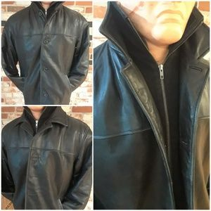 Vtg Bachrach Black Leather Jacket Mens Medium